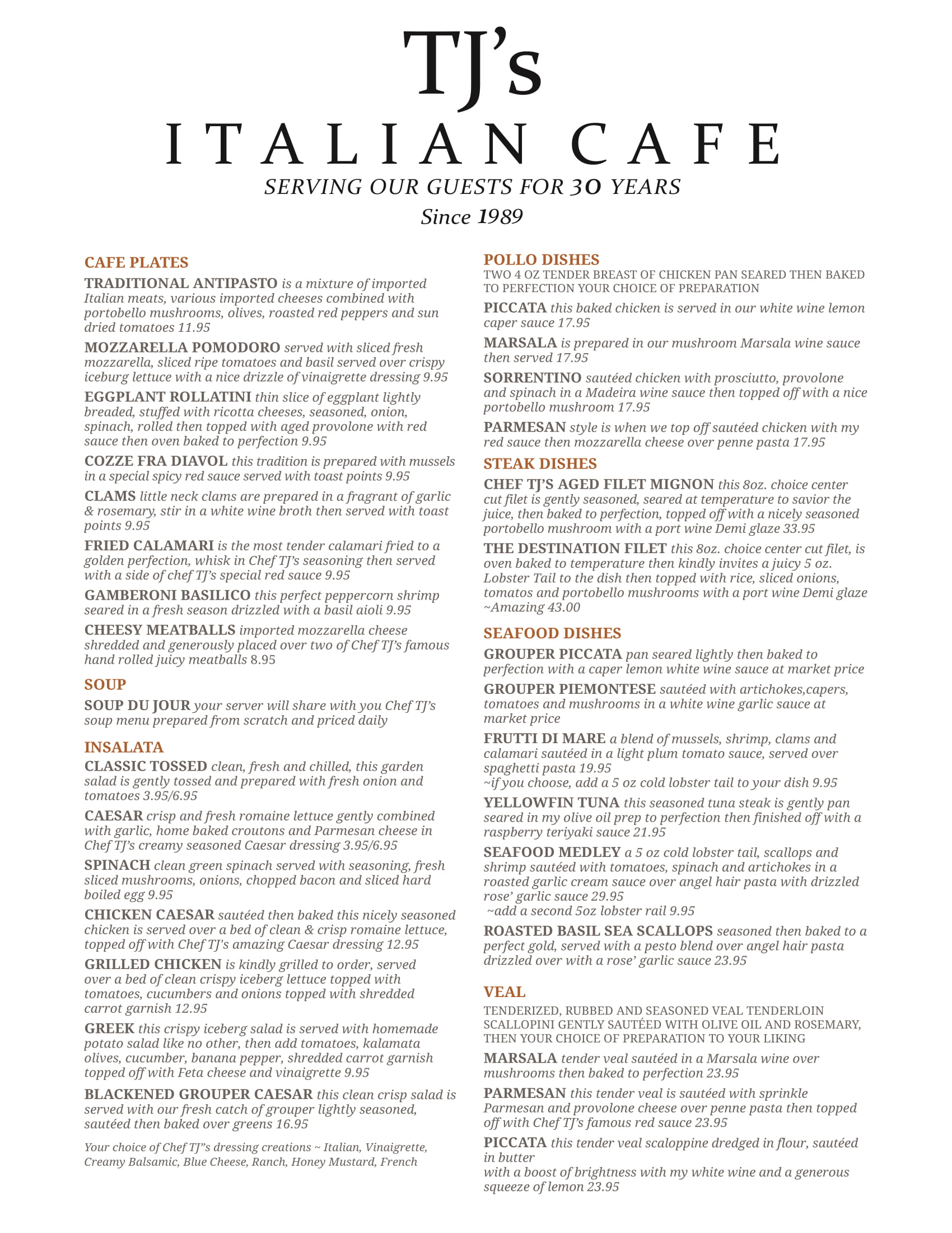 Tj's Italian Restaurant Menu located near Clearwater Beach Florida